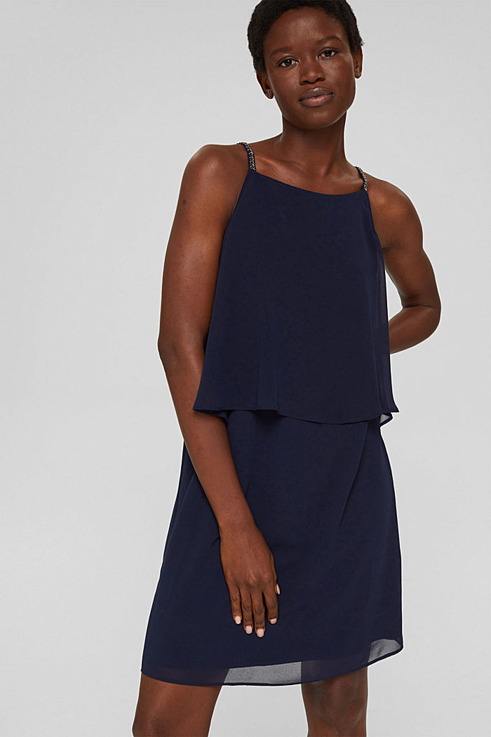 Recycled: chiffon dress in a layered look, NAVY, detail image number 0