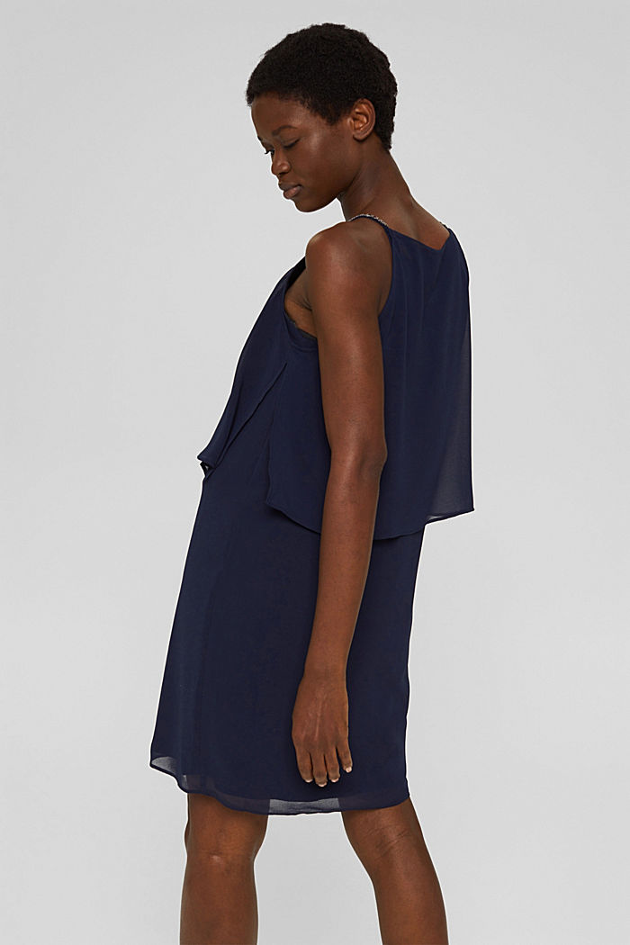 Recycled: chiffon dress in a layered look, NAVY, detail image number 2