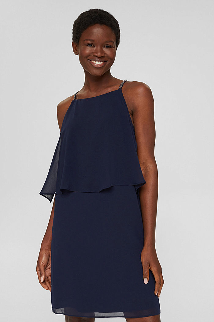 Recycled: chiffon dress in a layered look, NAVY, detail image number 5