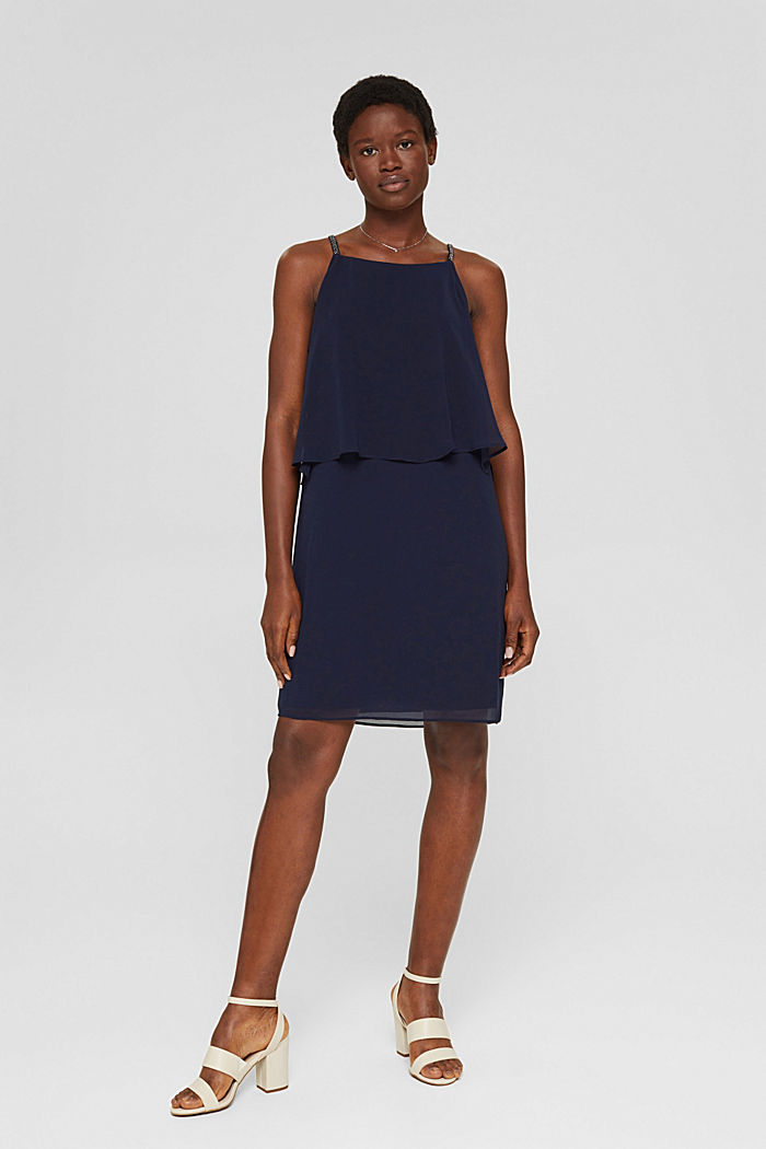 Recycled: chiffon dress in a layered look, NAVY, detail image number 1