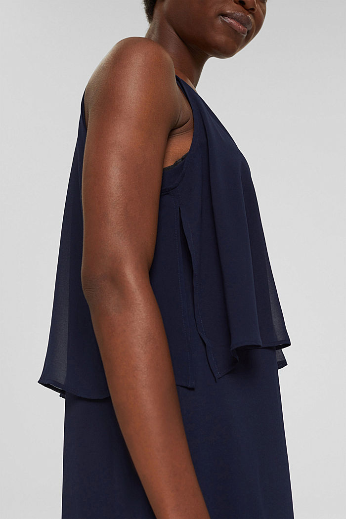 Recycled: chiffon dress in a layered look, NAVY, detail image number 3