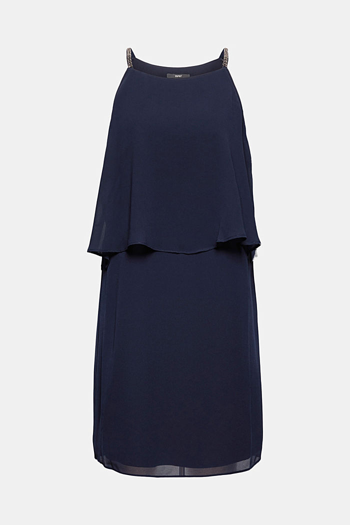 Recycled: chiffon dress in a layered look, NAVY, detail image number 6
