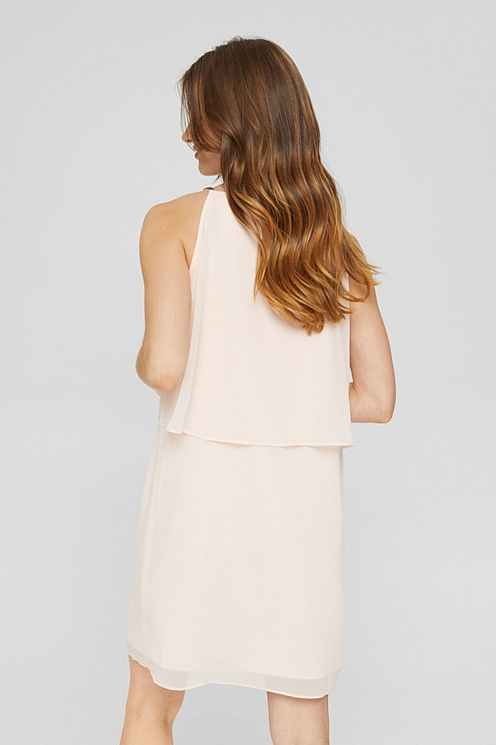 Recycled: chiffon dress in a layered look, PASTEL PINK, detail image number 2