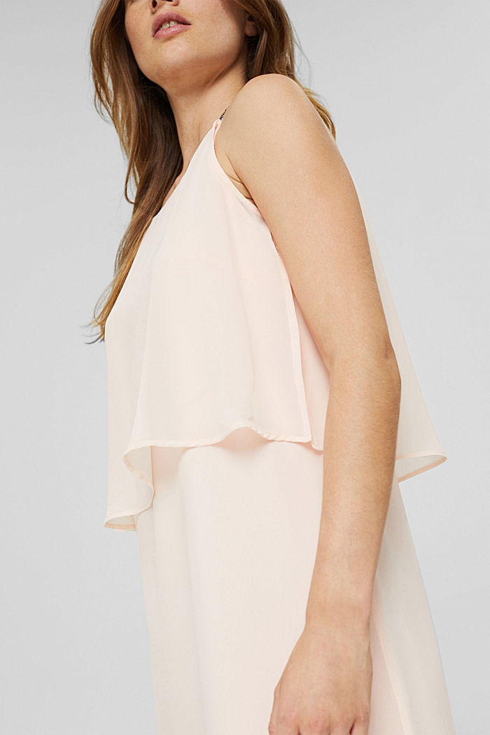 Recycled: chiffon dress in a layered look, PASTEL PINK, detail image number 3
