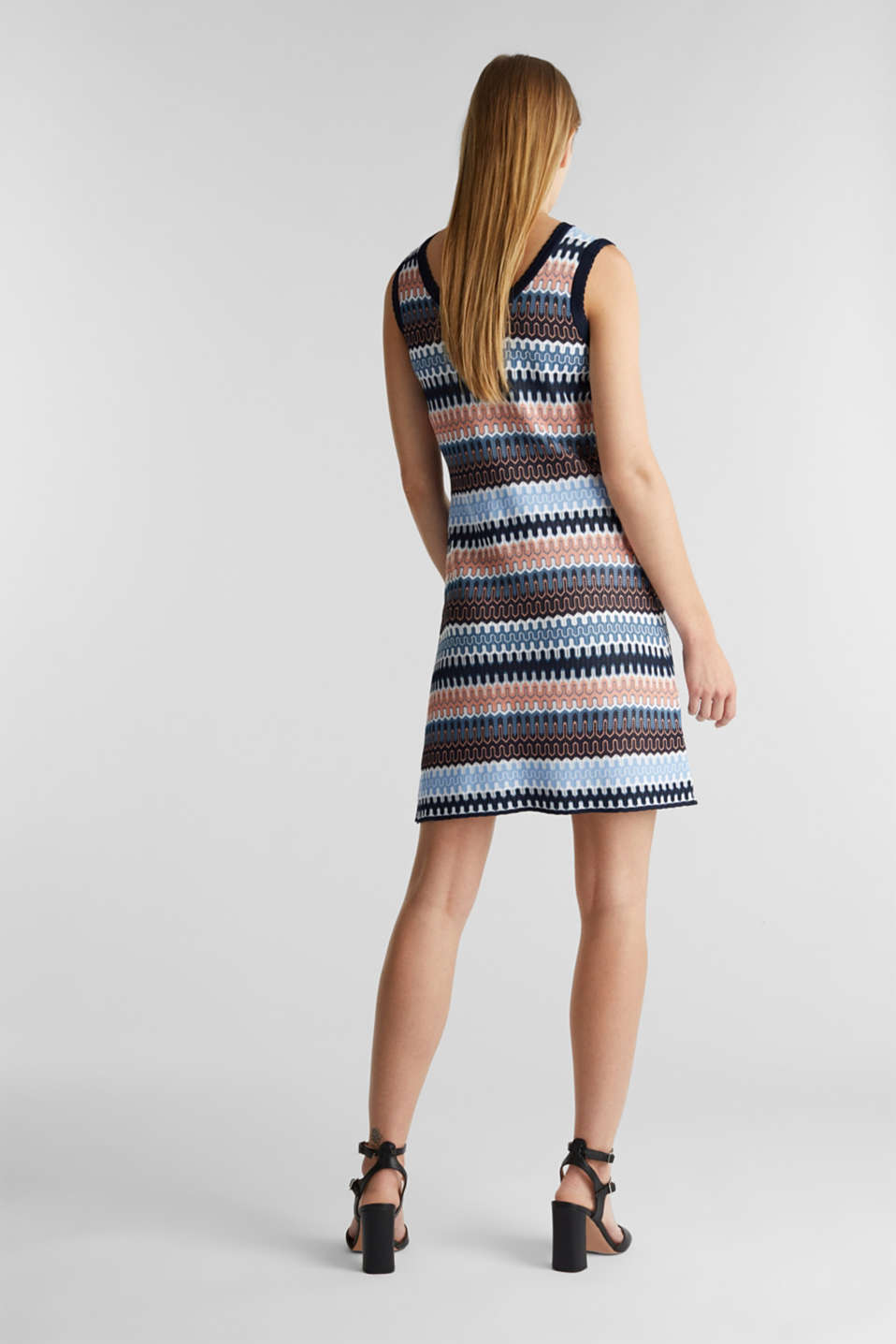 Knit dress with a jacquard pattern, NAVY, detail image number 2