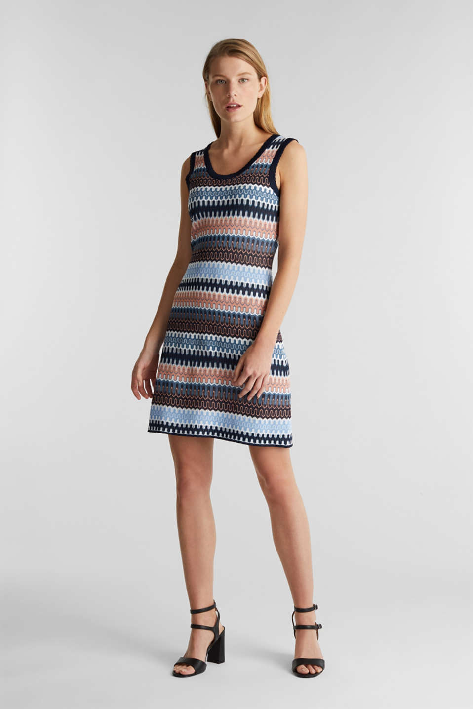 Knit dress with a jacquard pattern, NAVY, detail image number 1