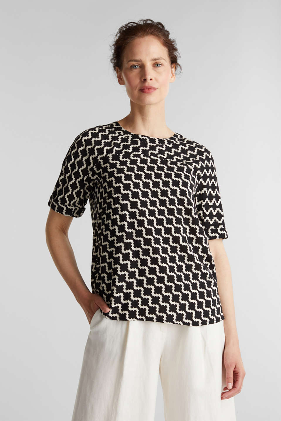 Short sleeve blouse with mosaic print, OFF WHITE 5, detail image number 0