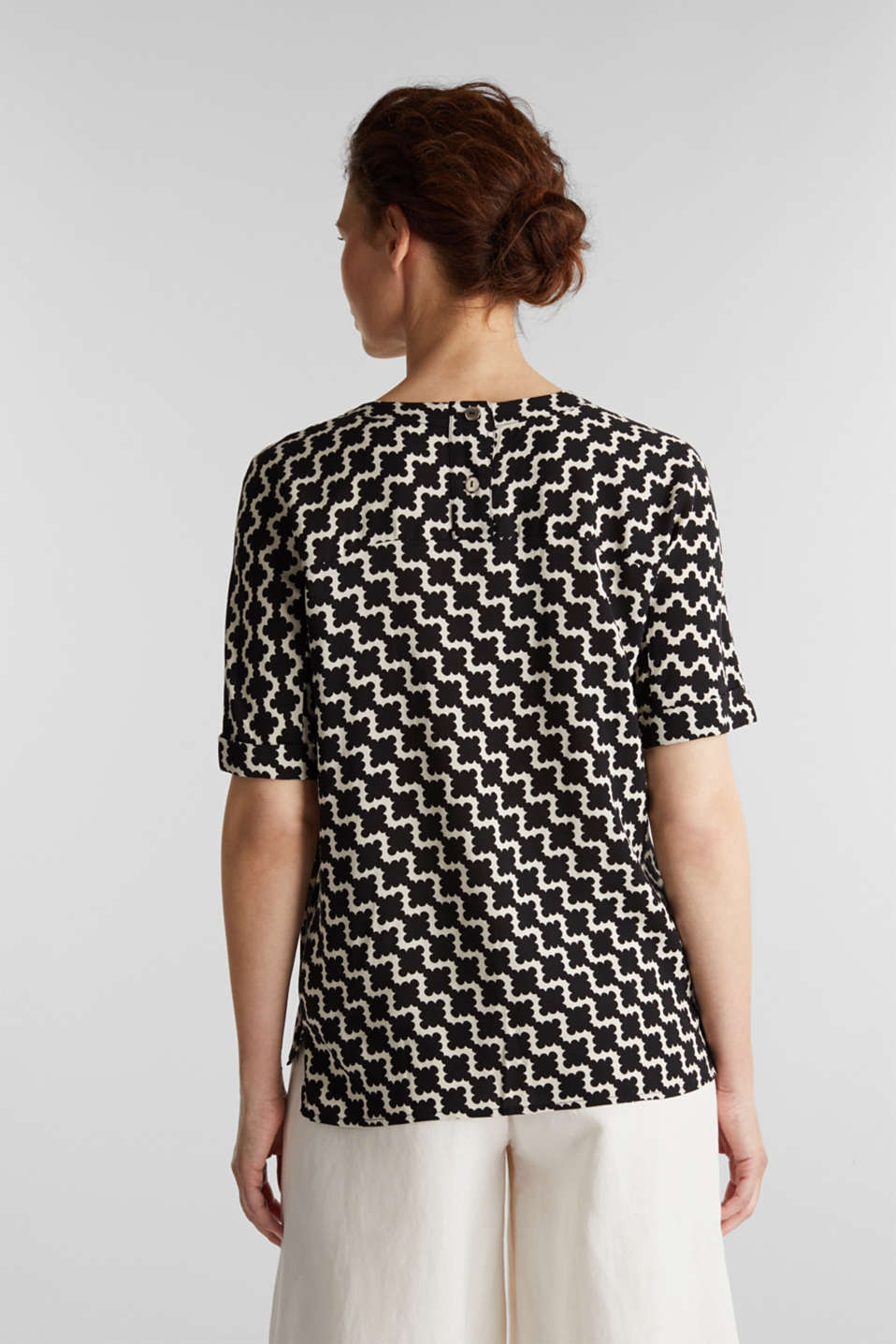 Short sleeve blouse with mosaic print, OFF WHITE 5, detail image number 3
