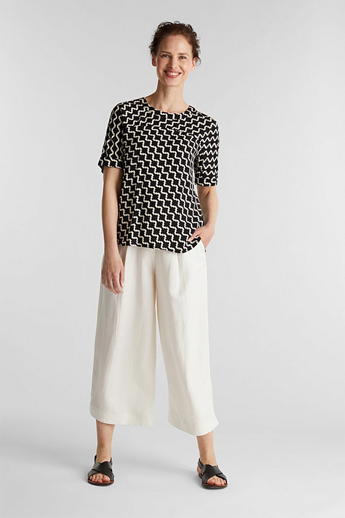 Short sleeve blouse with mosaic print, OFF WHITE, detail image number 1