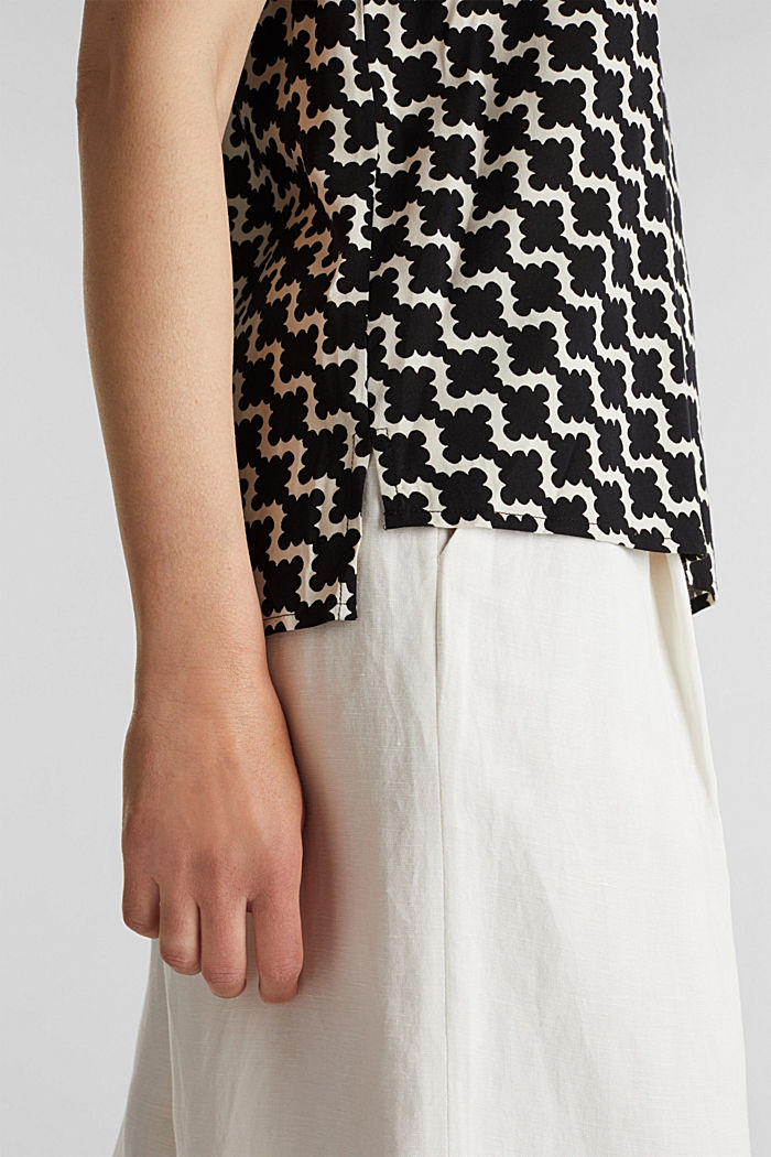 Short sleeve blouse with mosaic print, OFF WHITE, detail image number 2