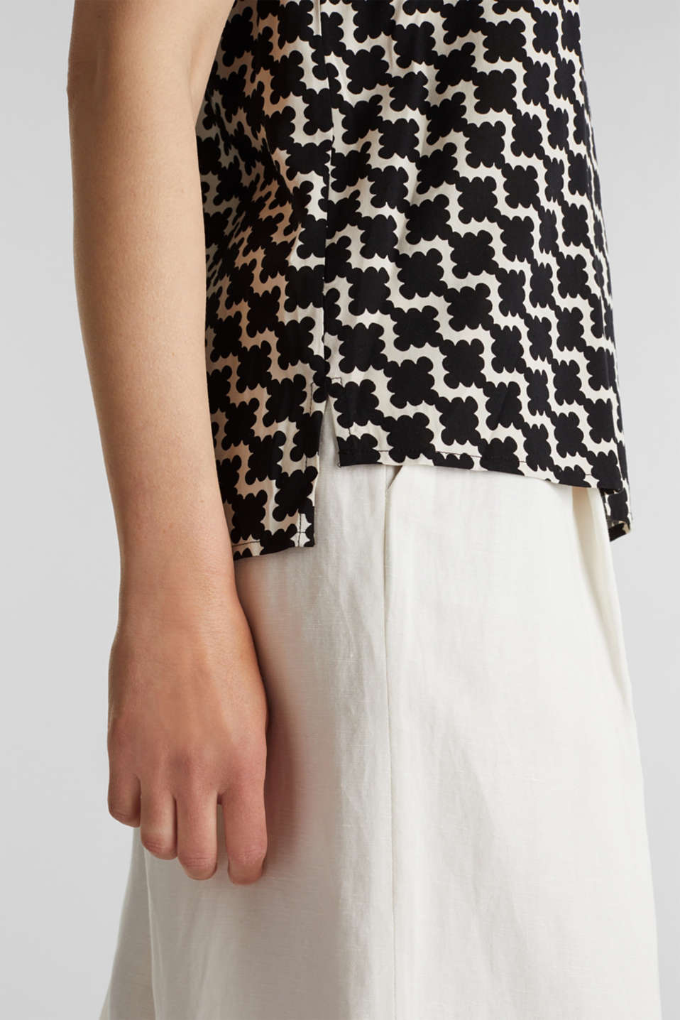 Short sleeve blouse with mosaic print, OFF WHITE 5, detail image number 2