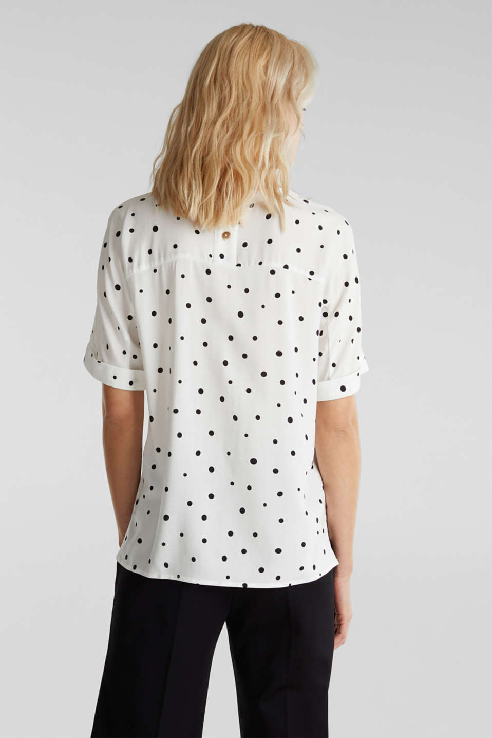 Short sleeve blouse with print, OFF WHITE 4, detail image number 3