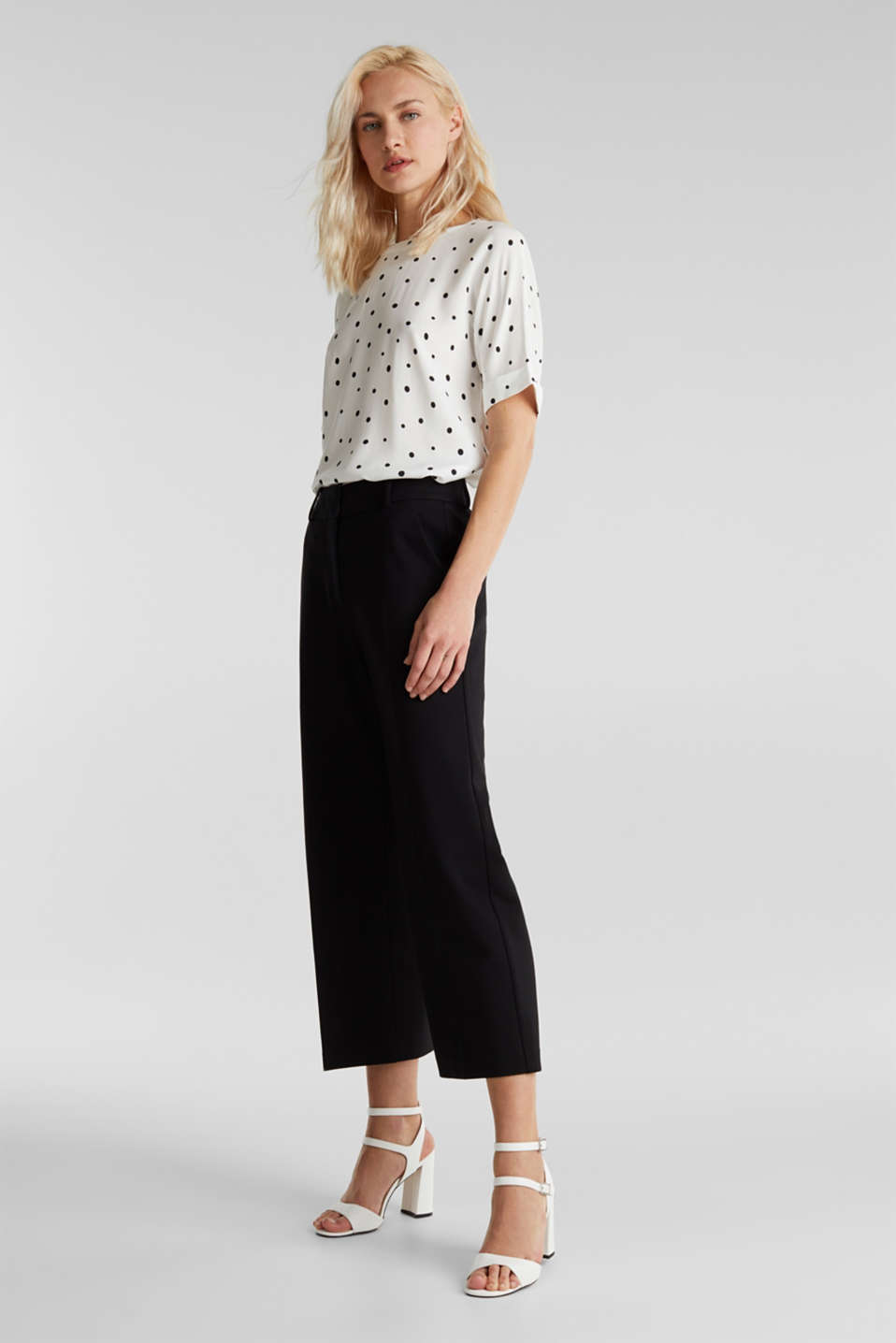 Short sleeve blouse with print, OFF WHITE 4, detail image number 1