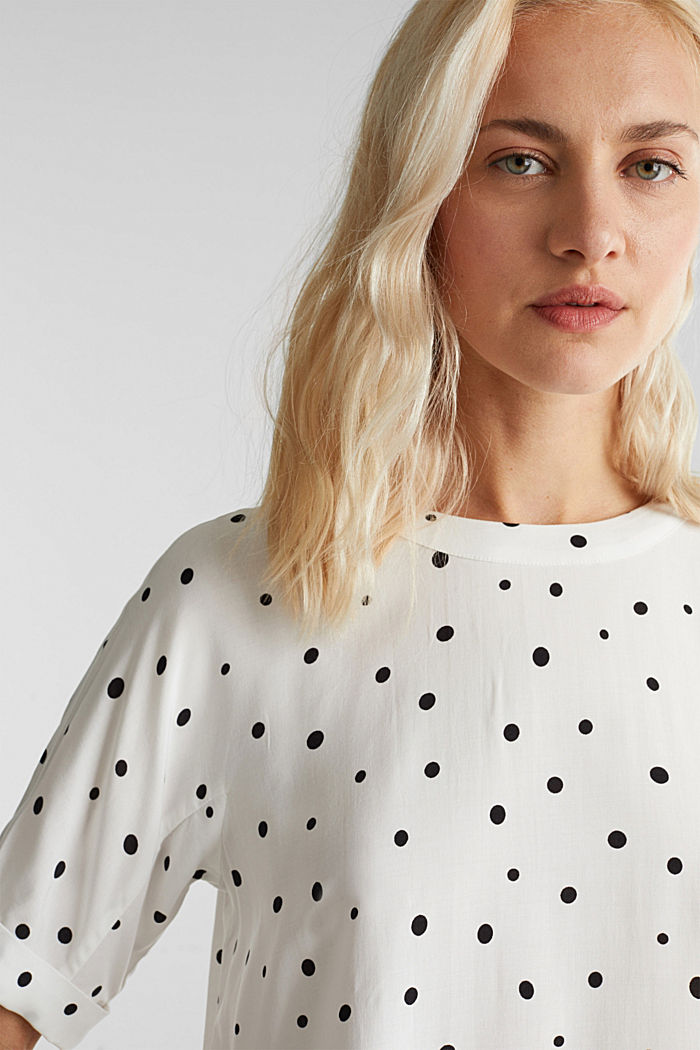 Short sleeve blouse with print, OFF WHITE, detail image number 2
