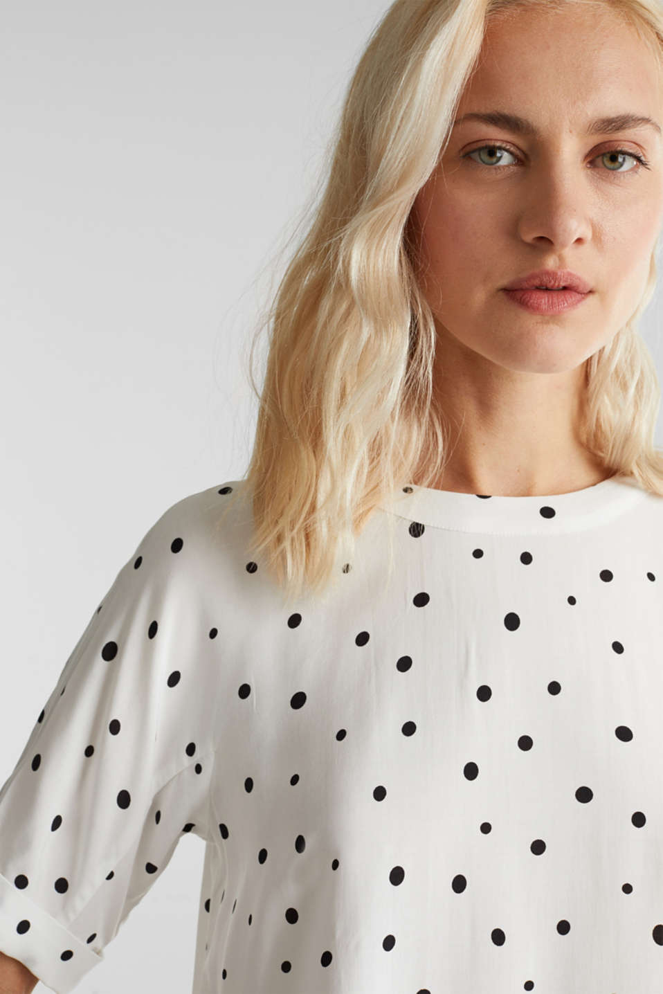 Short sleeve blouse with print, OFF WHITE 4, detail image number 2