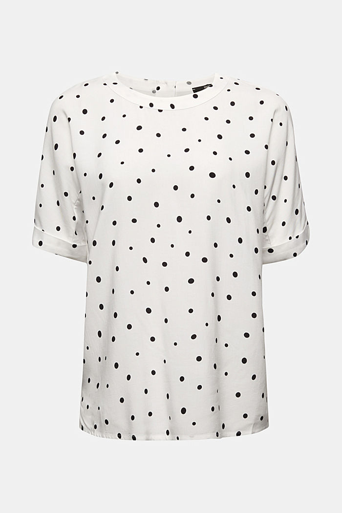 Short sleeve blouse with print, OFF WHITE, detail image number 5