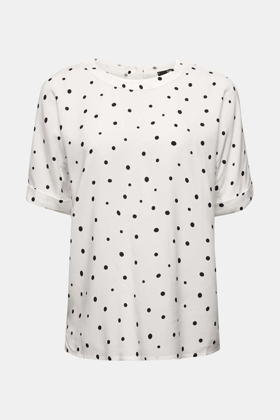 Short sleeve blouse with print, OFF WHITE 4, detail image number 5