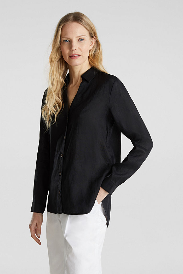 Made of linen: Blouse with a high-low hem, BLACK, detail image number 0