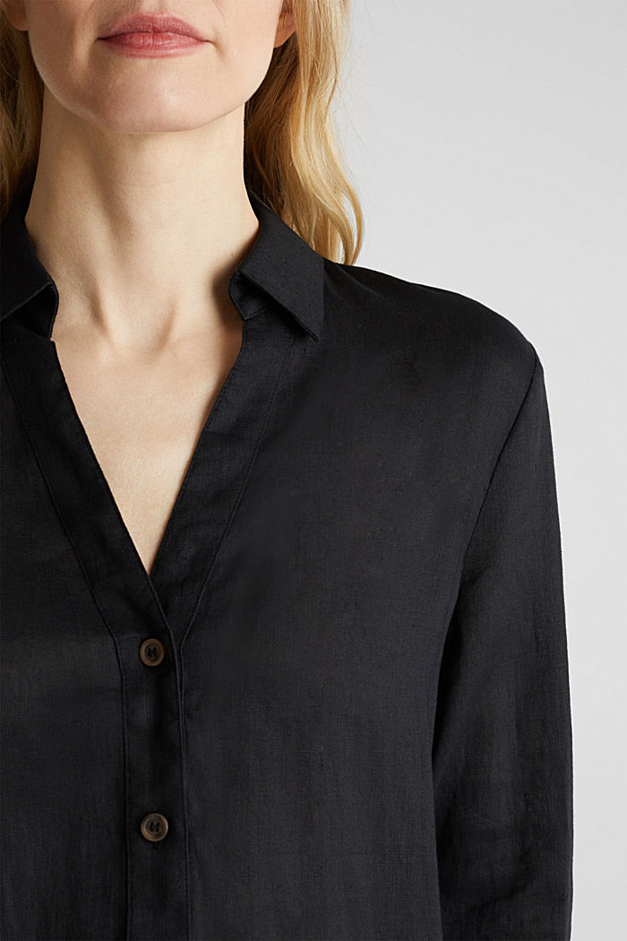 Made of linen: Blouse with a high-low hem, BLACK, detail image number 2