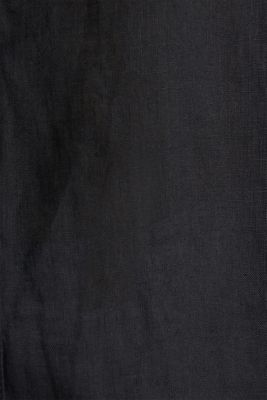 Made of linen: Blouse with a high-low hem, BLACK, detail