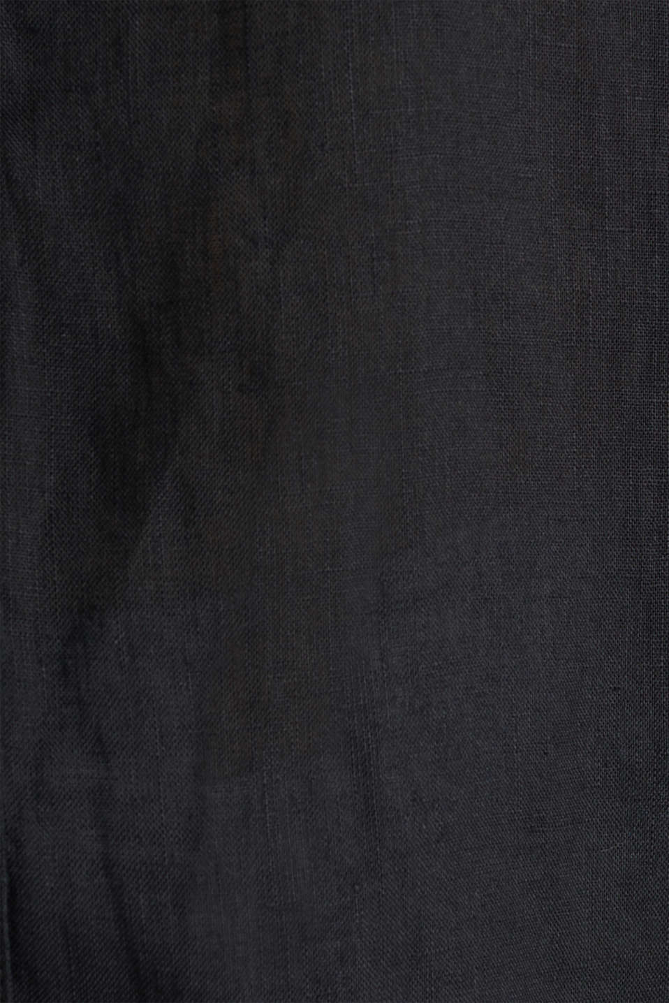 Made of linen: Blouse with a high-low hem, BLACK, detail image number 4