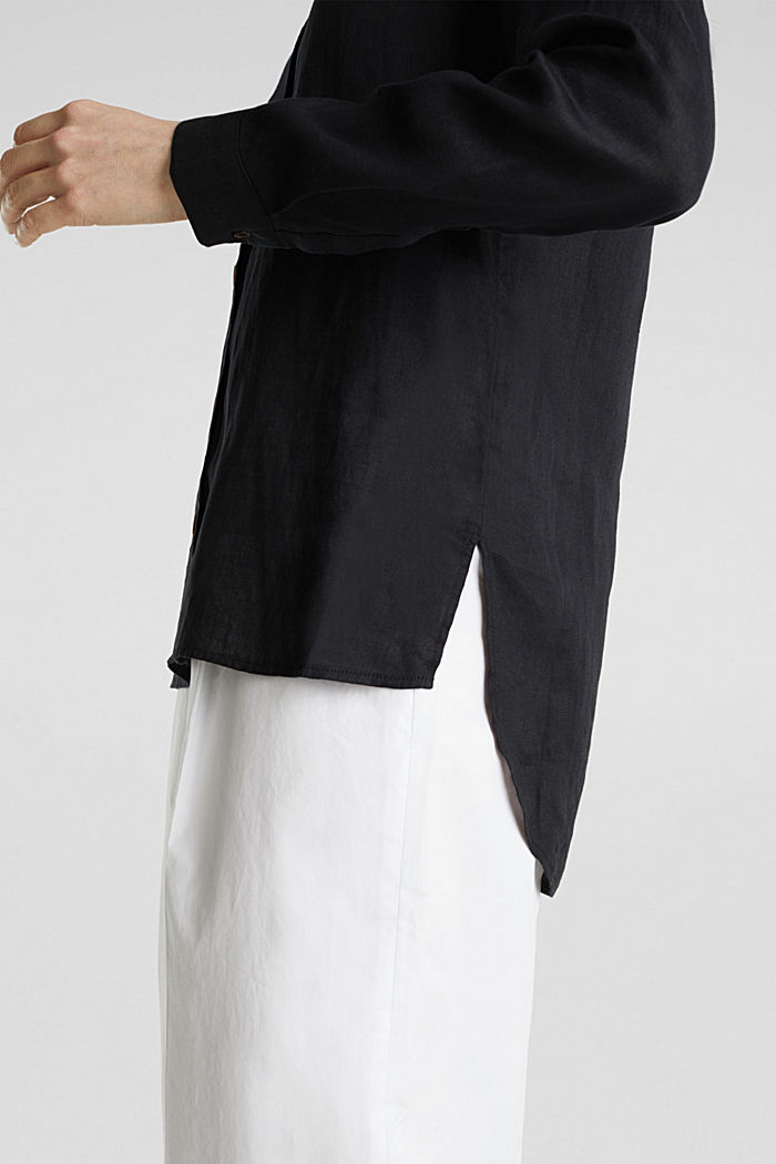Made of linen: Blouse with a high-low hem, BLACK, detail image number 5