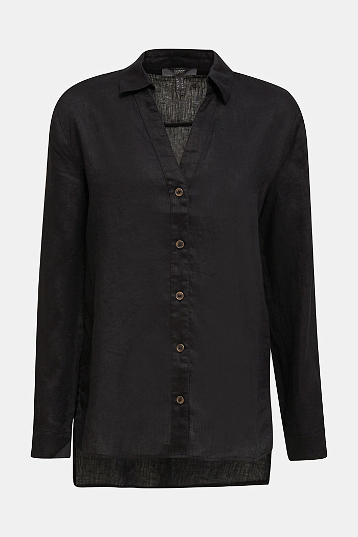 Made of linen: Blouse with a high-low hem, BLACK, detail image number 7