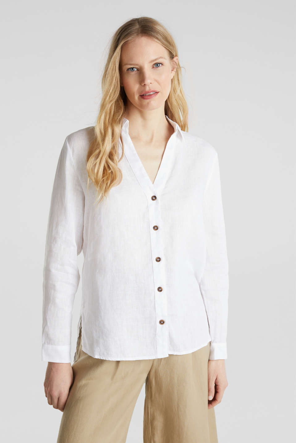 Made of linen: Blouse with a high-low hem, WHITE, detail image number 0