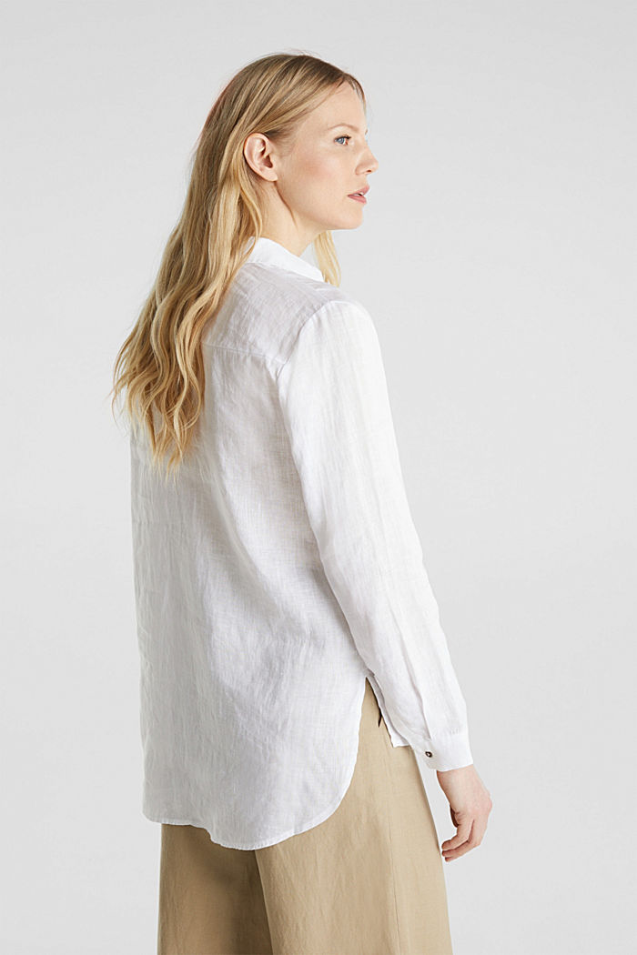 Made of linen: Blouse with a high-low hem, WHITE, detail image number 3