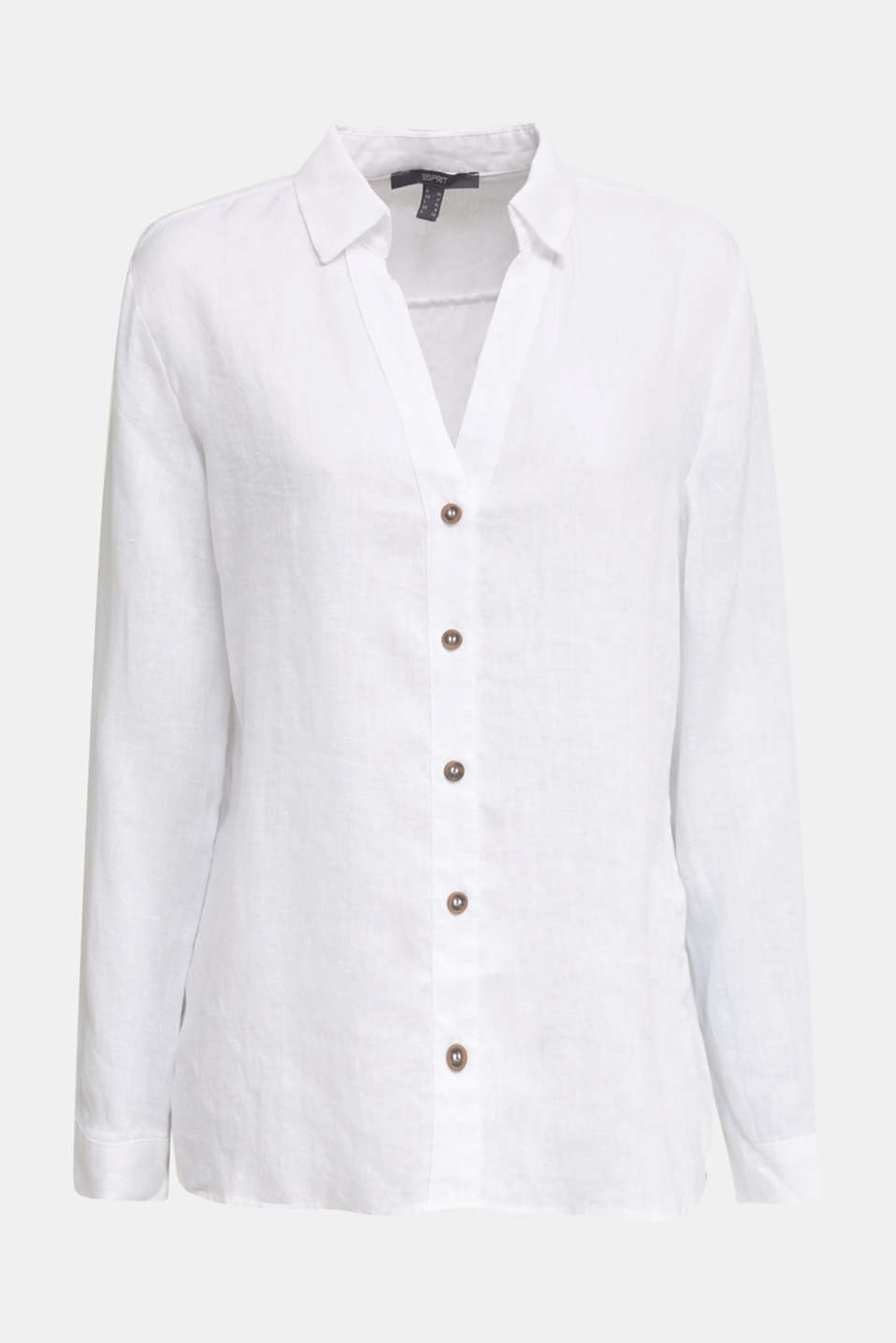 Made of linen: Blouse with a high-low hem, WHITE, detail image number 7