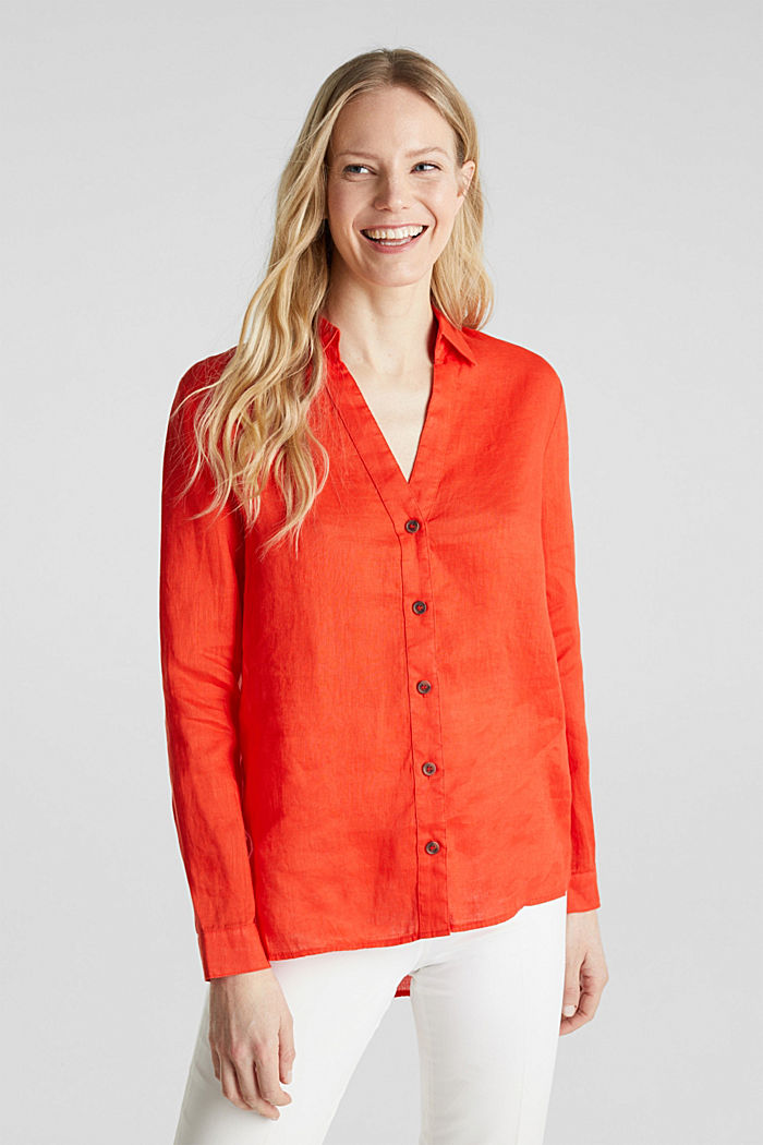 Made of linen: Blouse with a high-low hem