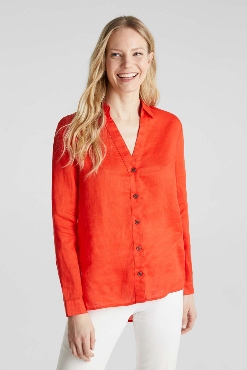Made of linen: Blouse with a high-low hem, RED ORANGE, detail image number 0