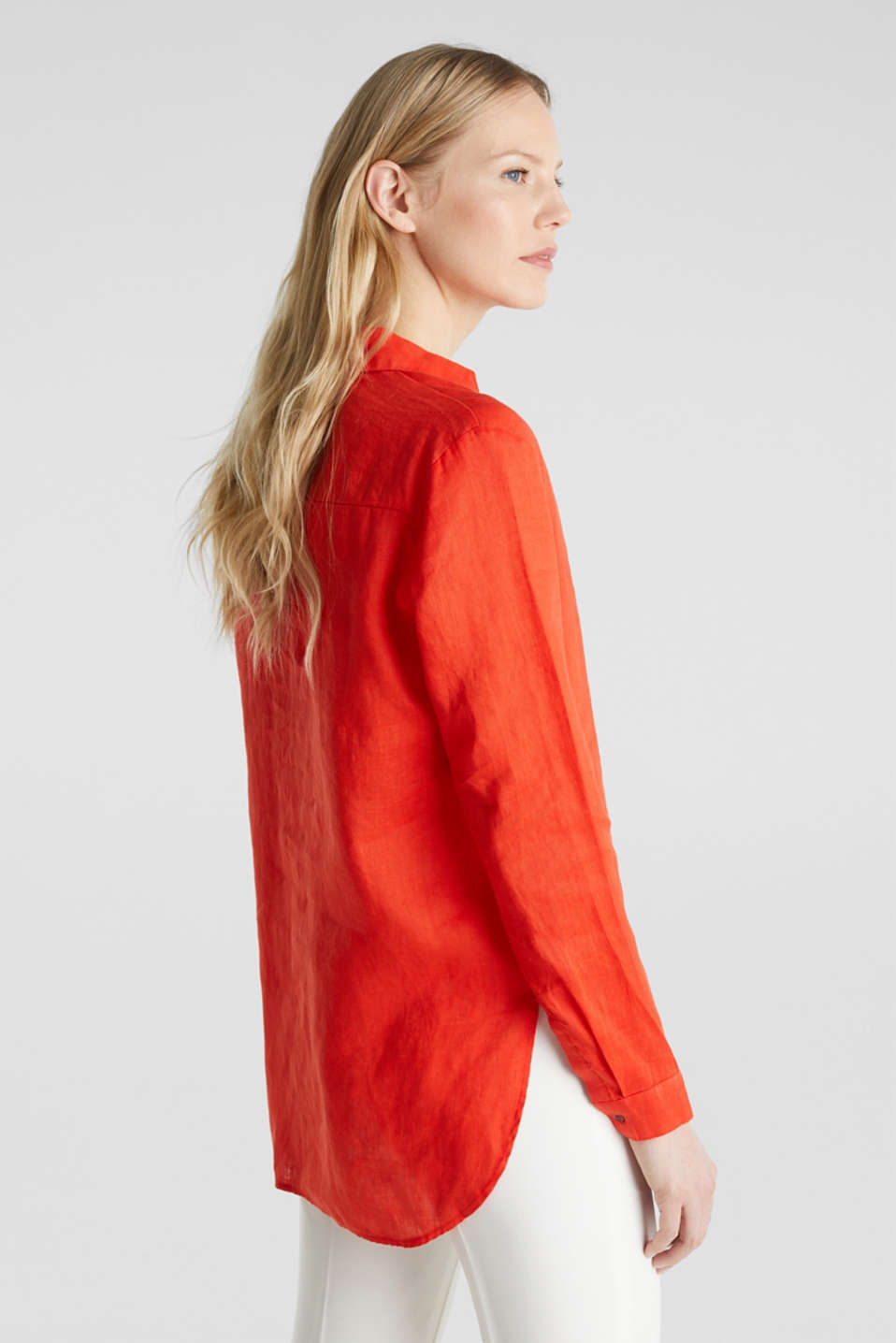 Made of linen: Blouse with a high-low hem, RED ORANGE, detail image number 3