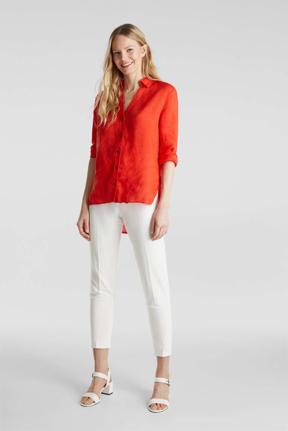 Made of linen: Blouse with a high-low hem, RED ORANGE, detail image number 1