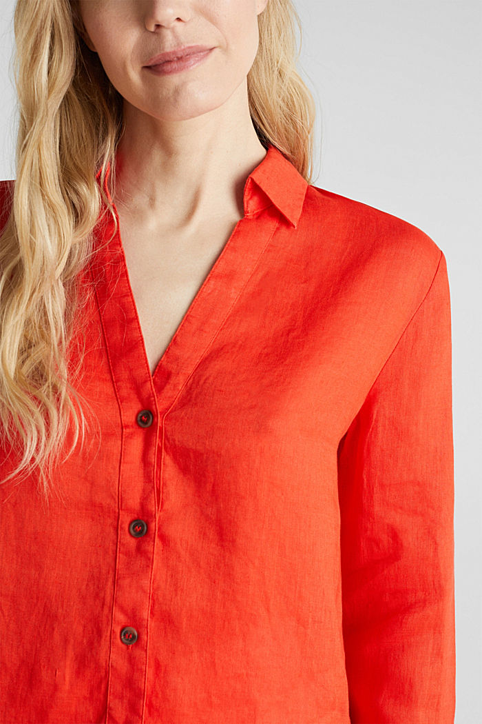 Made of linen: Blouse with a high-low hem, RED ORANGE, detail image number 2