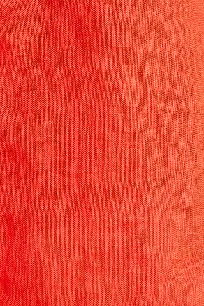 Made of linen: Blouse with a high-low hem, RED ORANGE, detail image number 4