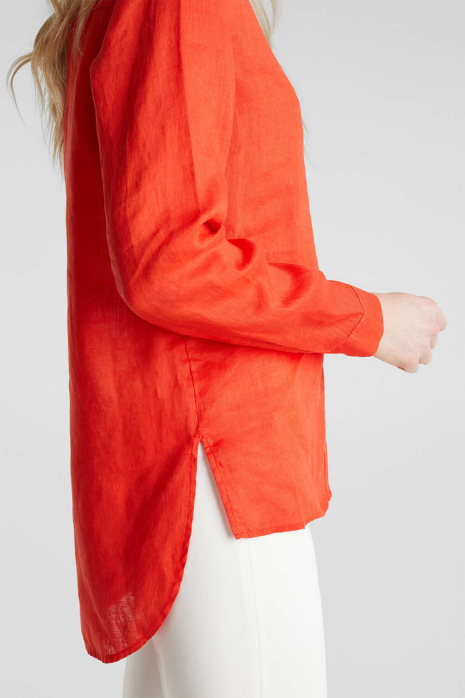 Made of linen: Blouse with a high-low hem, RED ORANGE, detail image number 5