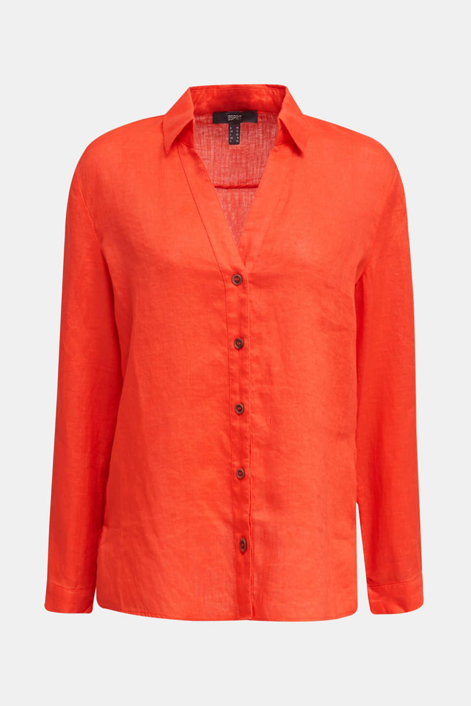 Made of linen: Blouse with a high-low hem, RED ORANGE, detail image number 6