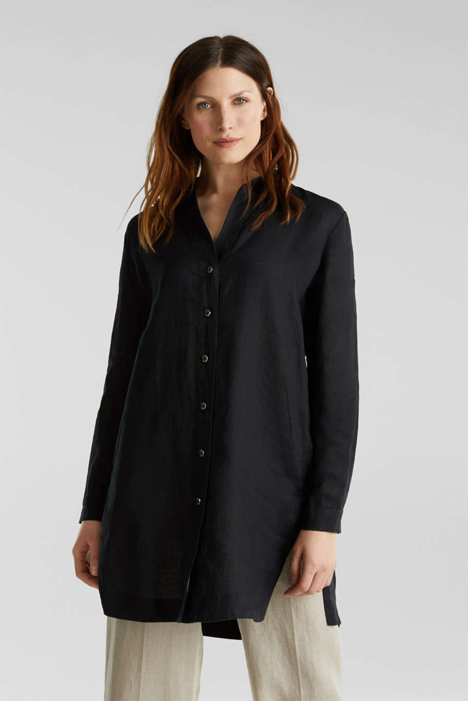 Made of linen: shirt blouse in a long cut, BLACK, detail image number 0