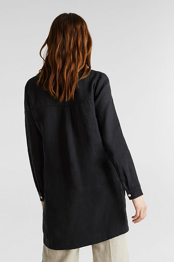 Made of linen: shirt blouse in a long cut, BLACK, detail image number 2