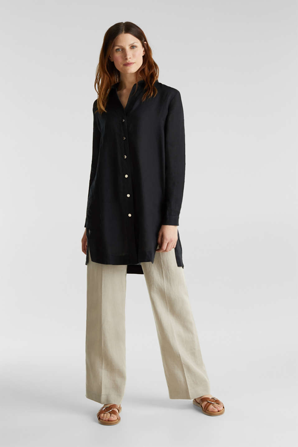 Made of linen: shirt blouse in a long cut, BLACK, detail image number 1
