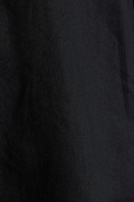 Made of linen: shirt blouse in a long cut, BLACK, detail