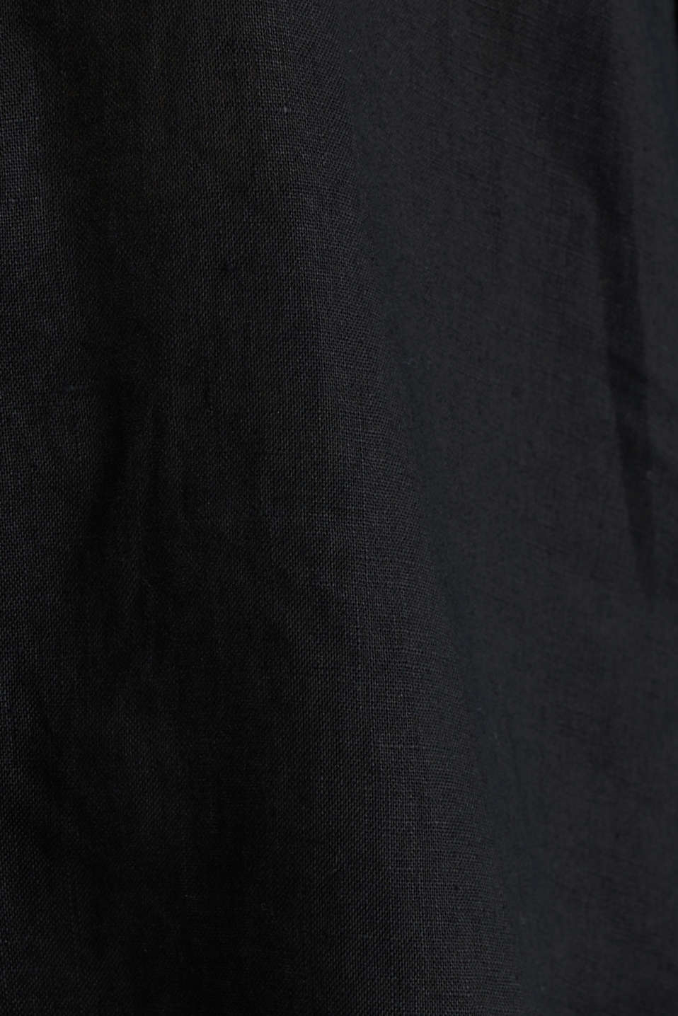Made of linen: shirt blouse in a long cut, BLACK, detail image number 3