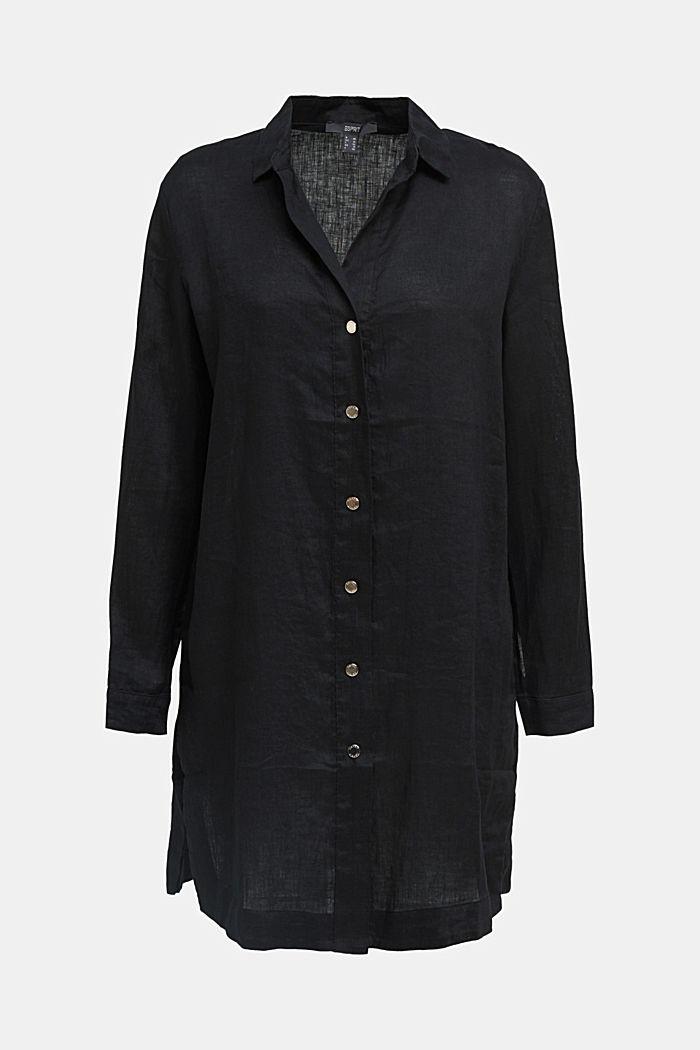 En lino: blusa camisera de diseño largo