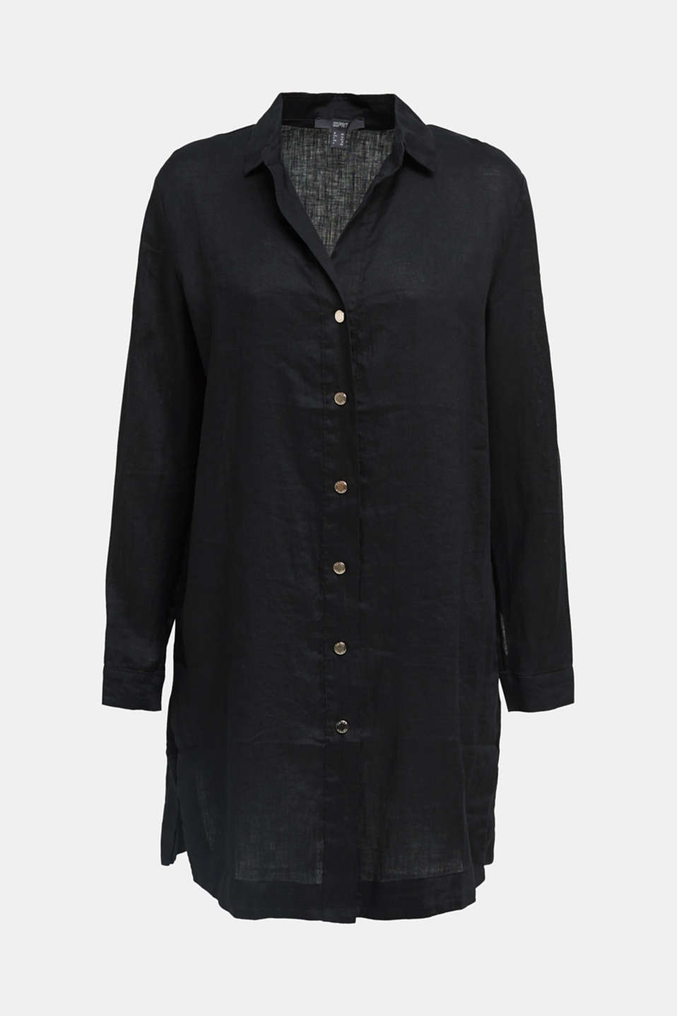 Made of linen: shirt blouse in a long cut, BLACK, detail image number 6