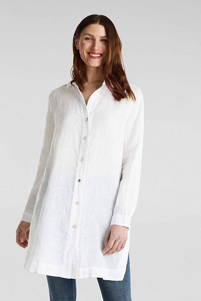 Ze lnu: košilová halenka dlouhého střihu, WHITE, detail image number 0