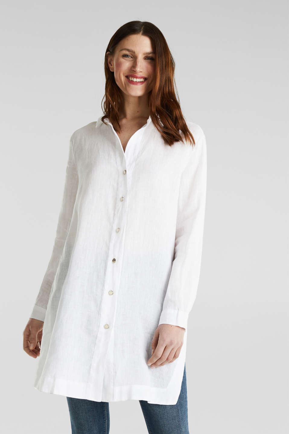 Made of linen: shirt blouse in a long cut, WHITE, detail image number 0