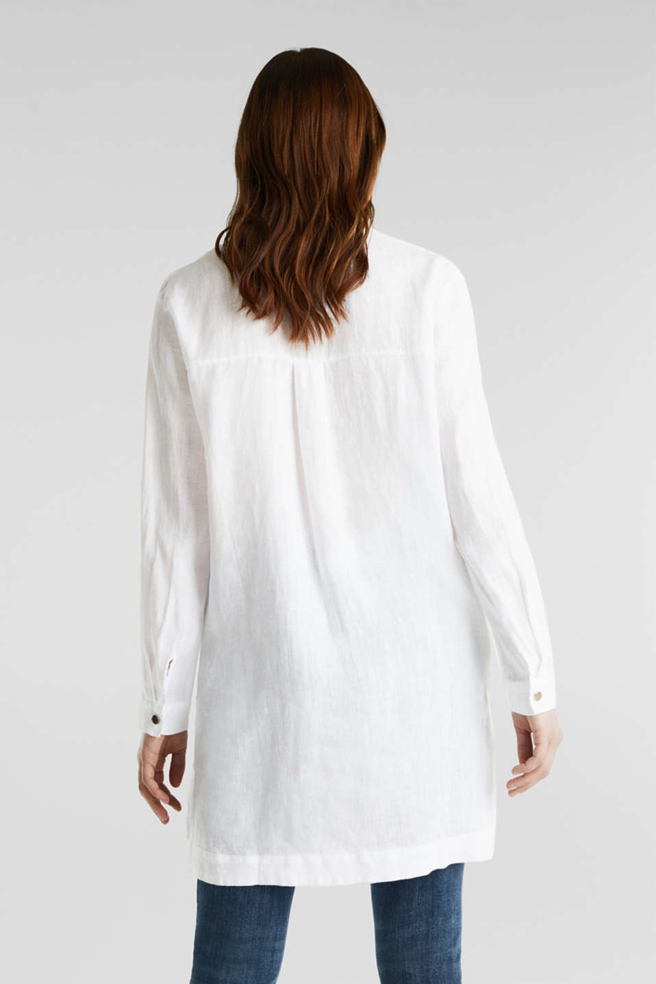 Made of linen: shirt blouse in a long cut, WHITE, detail image number 2