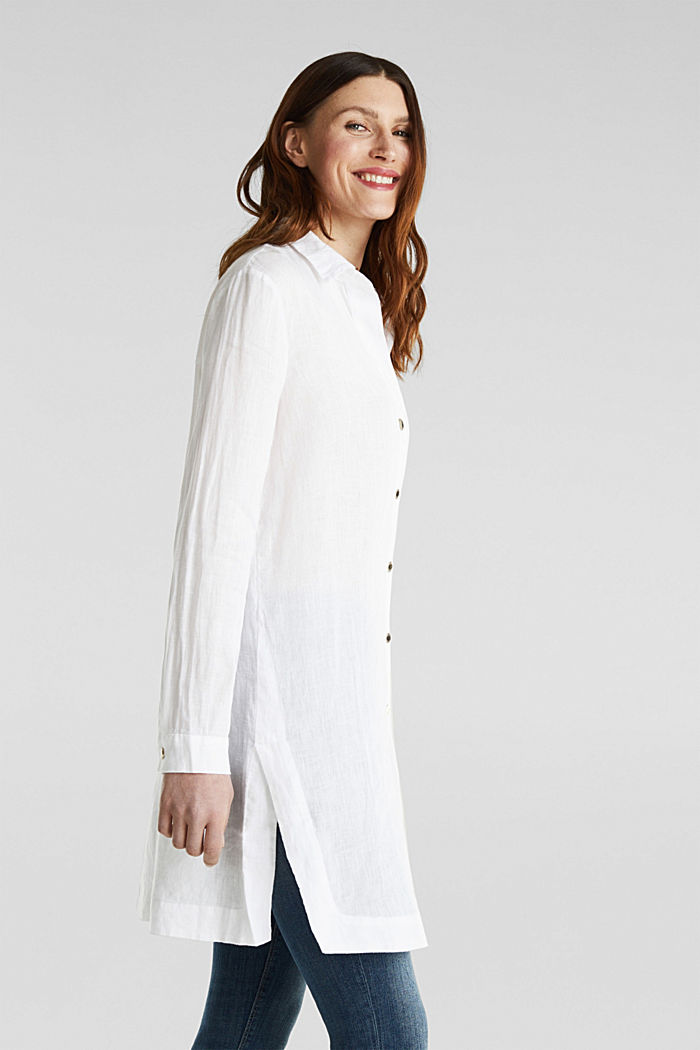 Made of linen: shirt blouse in a long cut, WHITE, detail image number 4