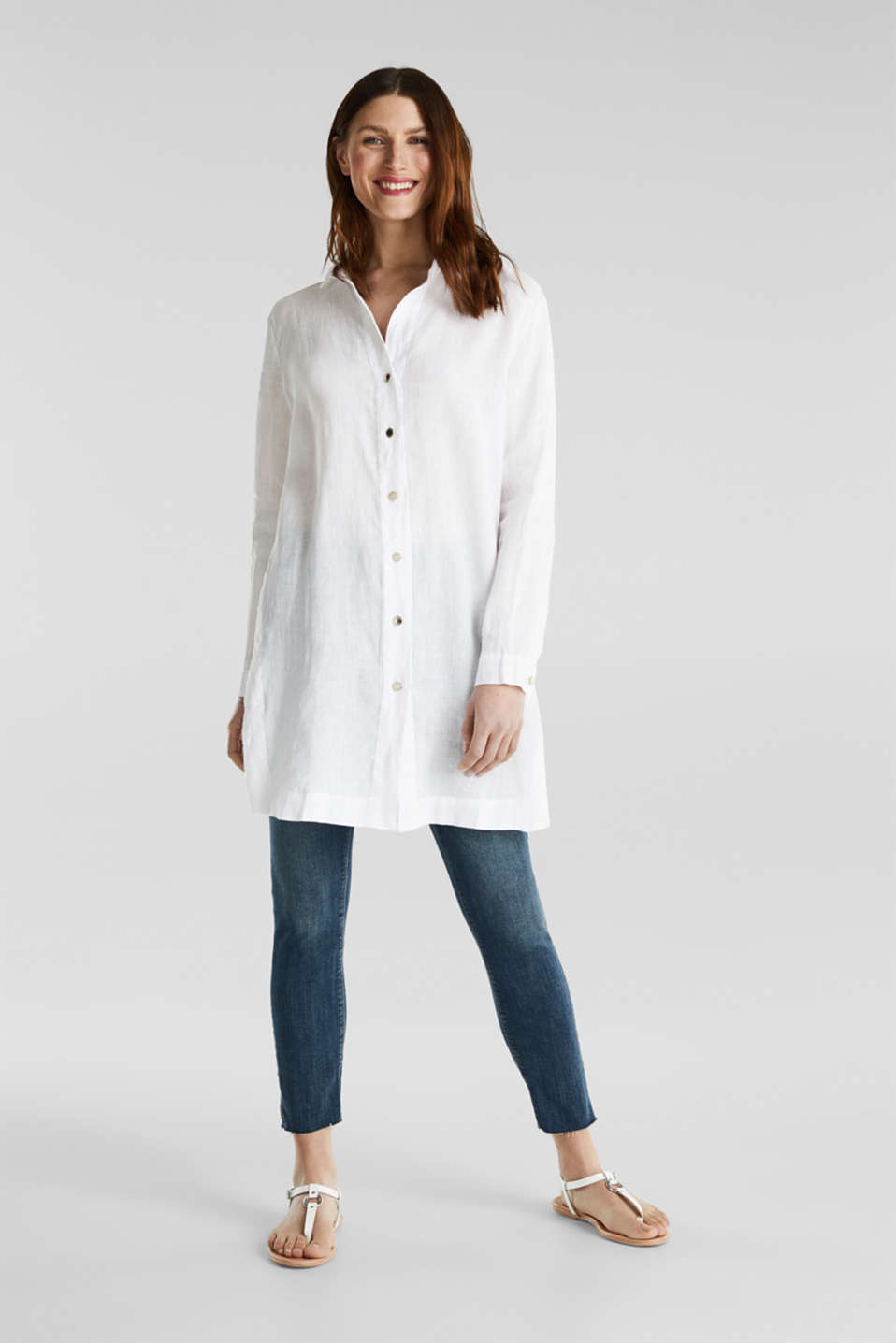 Made of linen: shirt blouse in a long cut, WHITE, detail image number 1